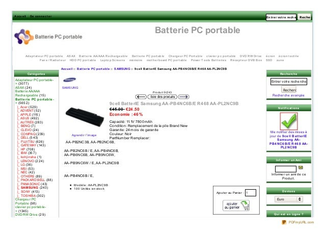 Accue il  Se conne ct e r  Ent re r vot re re che rche ici Rec her c her  Batterie PC portable Adapt at e ur PC port able ...