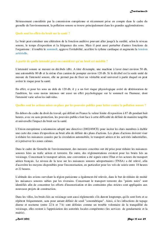 Doctissimo.fr Avril 2012 Page 15 sur 49 Sérieusement considérée par la commission européenne et récemment prise en compte ...