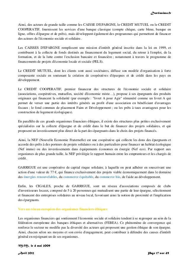 Doctissimo.fr Avril 2012 Page 17 sur 49 Ainsi, des acteurs de grande taille comme les CAISSE D'EPARGNE, le CREDIT MUTUEL o...