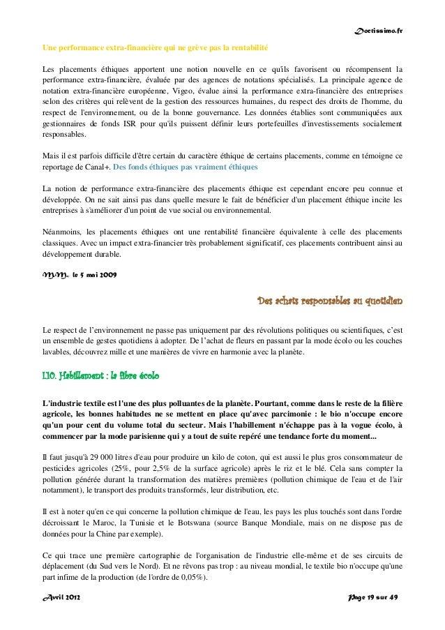 Doctissimo.fr Avril 2012 Page 19 sur 49 Une performance extra-financière qui ne grève pas la rentabilité Les placements ét...