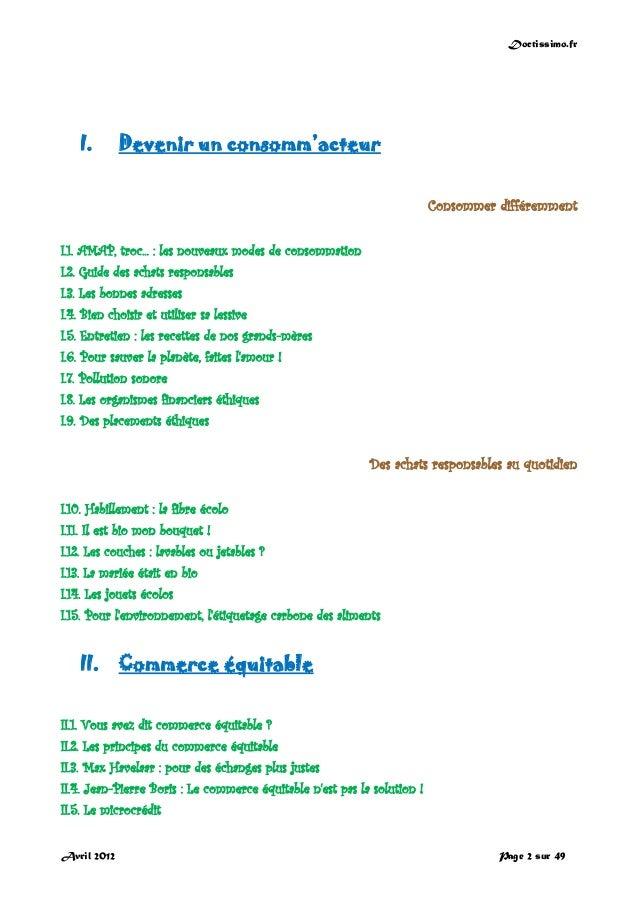 Doctissimo.fr Avril 2012 Page 2 sur 49 I. Devenir un consomm'acteur Consommer différemment I.1. AMAP, troc... : les nouvea...