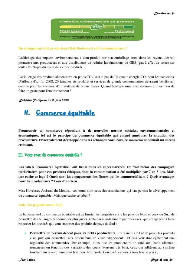 Doctissimo.fr Avril 2012 Page 28 sur 49 Du changement côté producteurs/distributeurs et côté consommateurs ! L'affichage d...