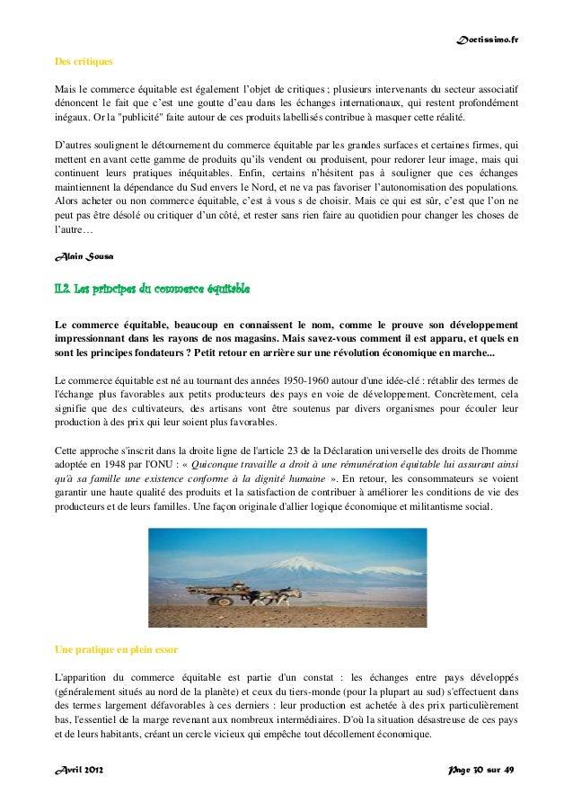 Doctissimo.fr Avril 2012 Page 30 sur 49 Des critiques Mais le commerce équitable est également l'objet de critiques ; plus...