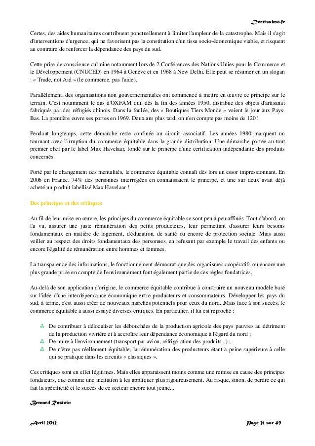 Doctissimo.fr Avril 2012 Page 31 sur 49 Certes, des aides humanitaires contribuent ponctuellement à limiter l'ampleur de l...