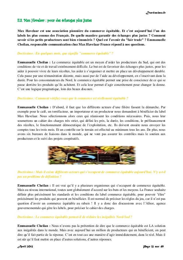 Doctissimo.fr Avril 2012 Page 32 sur 49 II.3. Max Havelaar : pour des échanges plus justes Max Havelaar est une associatio...