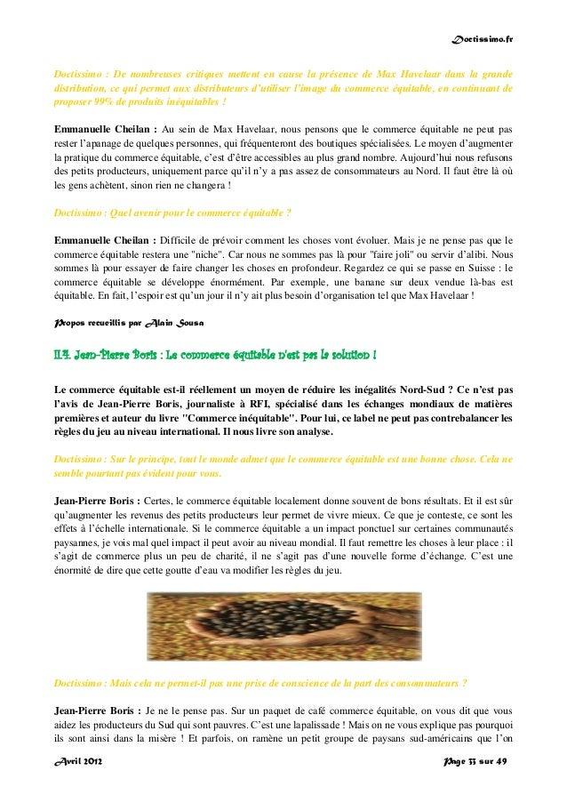Doctissimo.fr Avril 2012 Page 33 sur 49 Doctissimo : De nombreuses critiques mettent en cause la présence de Max Havelaar ...
