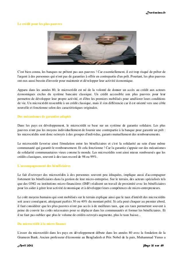 Doctissimo.fr Avril 2012 Page 35 sur 49 Le crédit pour les plus pauvres C'est bien connu, les banques ne prêtent pas aux p...