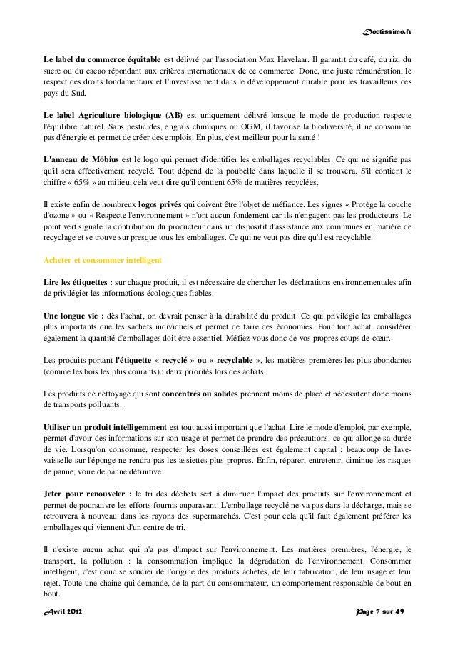 Doctissimo.fr Avril 2012 Page 7 sur 49 Le label du commerce équitable est délivré par l'association Max Havelaar. Il garan...