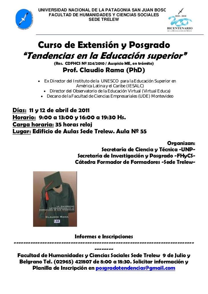 UNIVERSIDAD NACIONAL DE LA PATAGONIA SAN JUAN BOSCO              FACULTAD DE HUMANIDADES Y CIENCIAS SOCIALES              ...