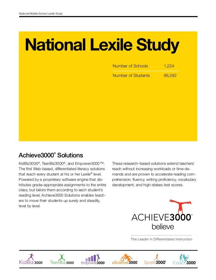 Achieve3000 Middle School Report