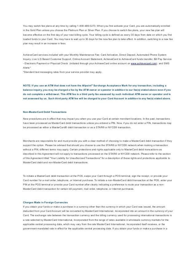 Cardholder Agreement for AchieveCard Prepaid Mastercard