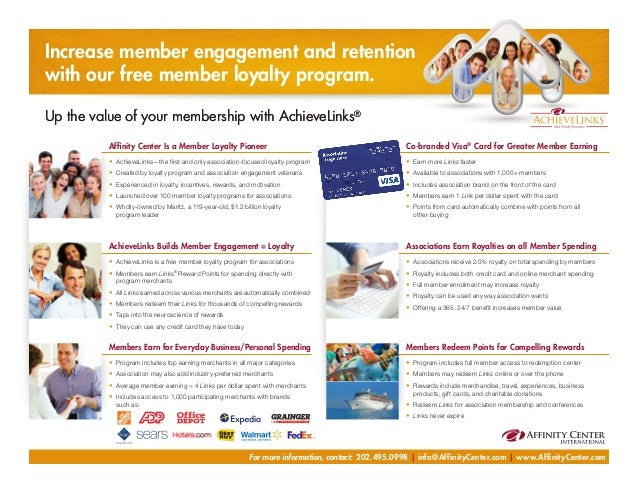 achieve links rewards member loyalty for more information contact 2024950998 infoaffinitycentercom - Achieve Card Rewards