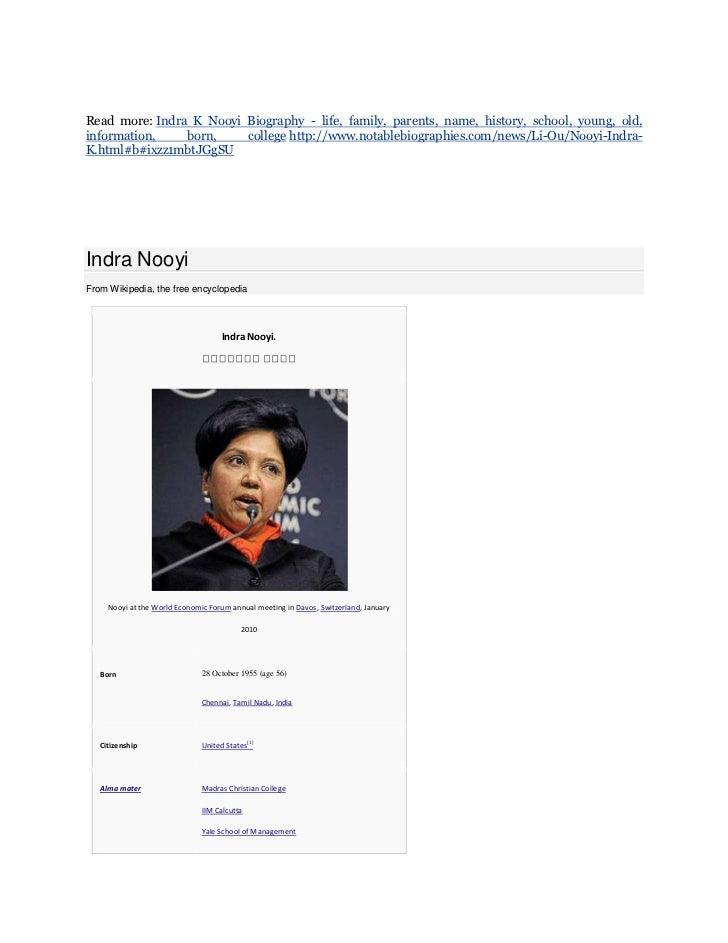 Indra nooyi resume