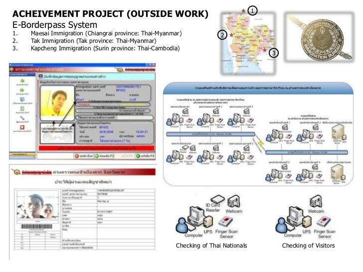 1ACHEIVEMENT PROJECT (OUTSIDE WORK)E-Borderpass System1.   Maesai Immigration (Chiangrai province: Thai-Myanmar)          ...