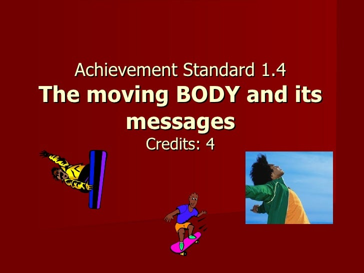 Achievement Standard 1.4 The moving BODY and its messages Credits: 4