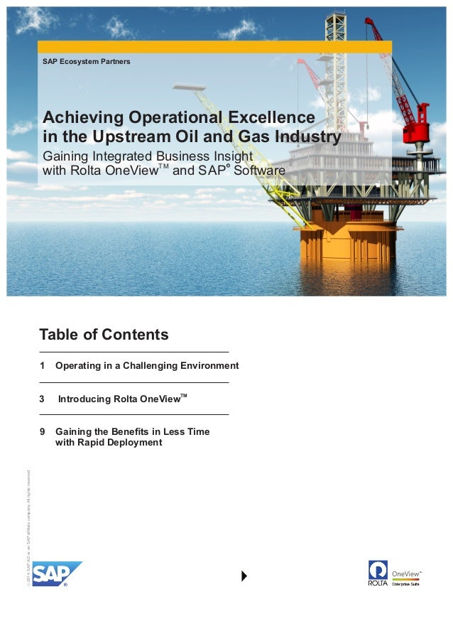 Achieving Operational Excellence in the Upstream Oil and Gas Industry…