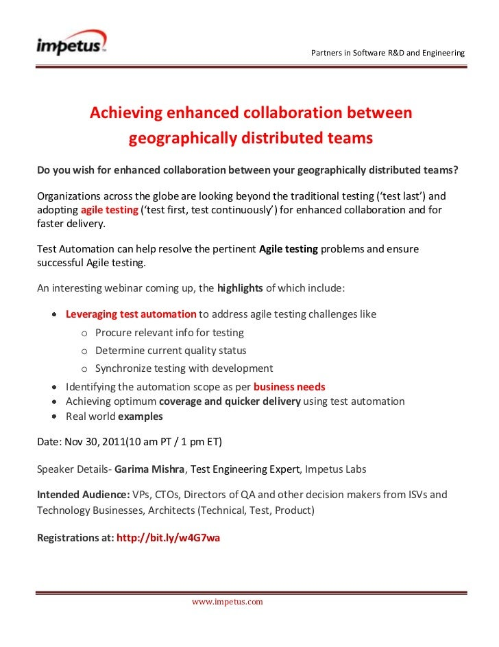 Partners in Software R&D and Engineering           Achieving enhanced collaboration between                geographically ...