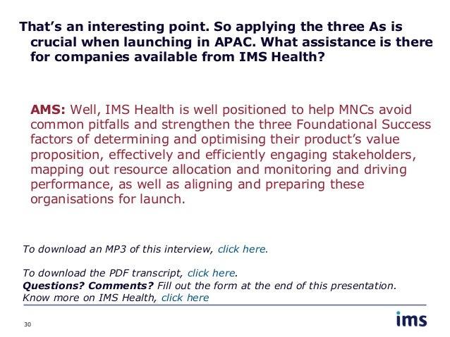 Ims health interview