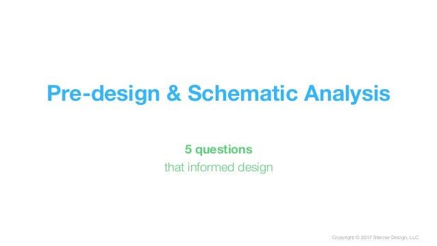 Copyright © 2017 Sterner Design, LLC Pre-design & Schematic Analysis 5 questions that informed design