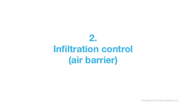 Copyright © 2017 Sterner Design, LLC 2. Infiltration control (air barrier)