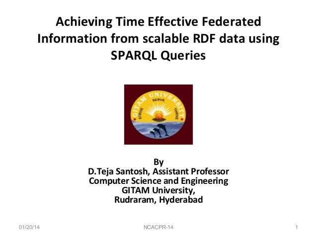 Achieving Time Effective Federated Information from scalable RDF data using SPARQL Queries  By D.Teja Santosh, Assistant P...