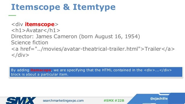 searchmarketingexpo.com @sjachille #SMX #22B Itemscope & Itemtype <div itemscope> <h1>Avatar</h1> Director: James Cameron ...