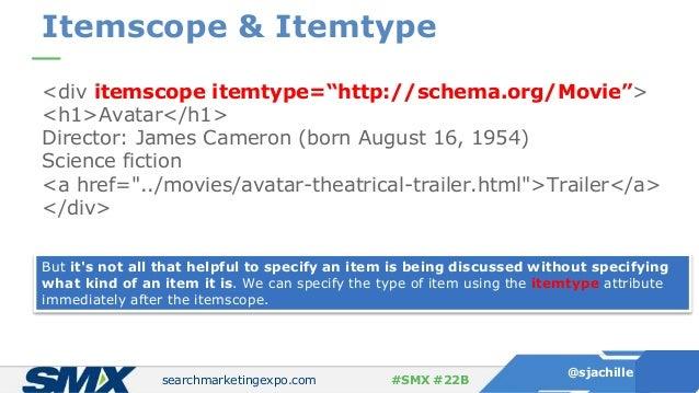 "searchmarketingexpo.com @sjachille #SMX #22B Itemscope & Itemtype <div itemscope itemtype=""http://schema.org/Movie""> <h1>A..."