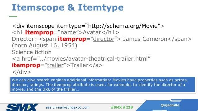"searchmarketingexpo.com @sjachille #SMX #22B Itemscope & Itemtype <div itemscope itemtype=""http://schema.org/Movie""> <h1 i..."