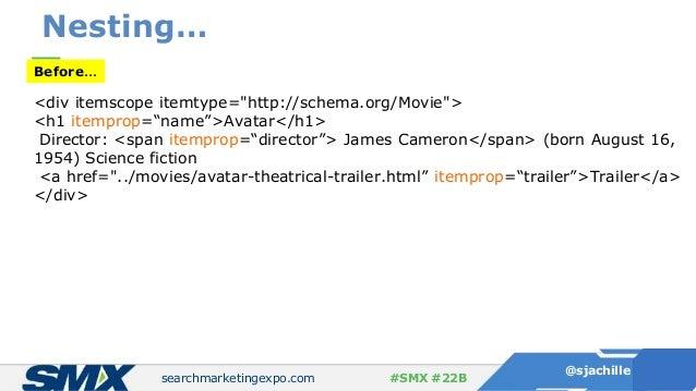 "searchmarketingexpo.com @sjachille #SMX #22B Nesting… Before… <div itemscope itemtype=""http://schema.org/Movie""> <h1 itemp..."