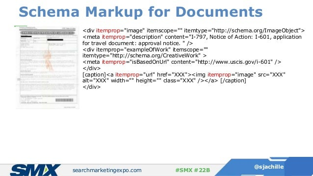 """searchmarketingexpo.com @sjachille #SMX #22B Schema Markup for Documents <div itemprop=""""image"""" itemscope="""""""" itemtype=""""http..."""