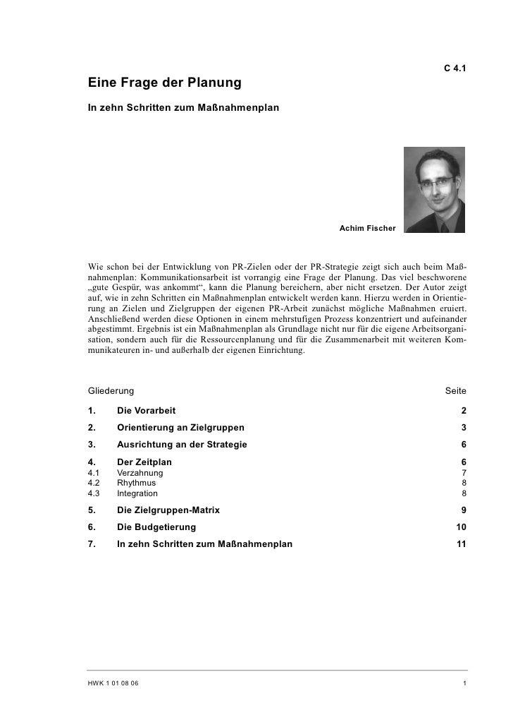C 4.1 Eine Frage der Planung In zehn Schritten zum Maßnahmenplan                                                          ...