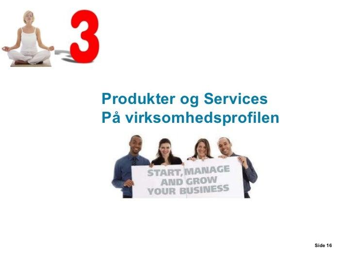 Side  Produkter og Services På virksomhedsprofilen