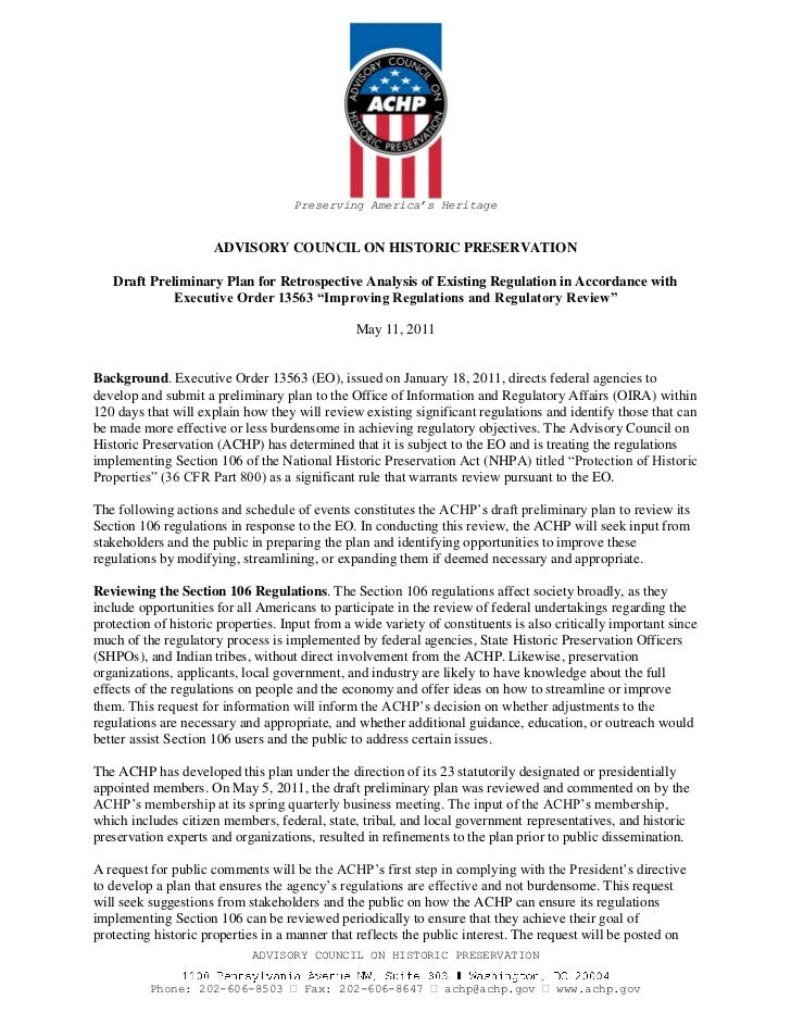 Preserving America's Heritage                      ADVISORY COUNCIL ON HISTORIC PRESERVATION   Draft Preliminary Plan for ...
