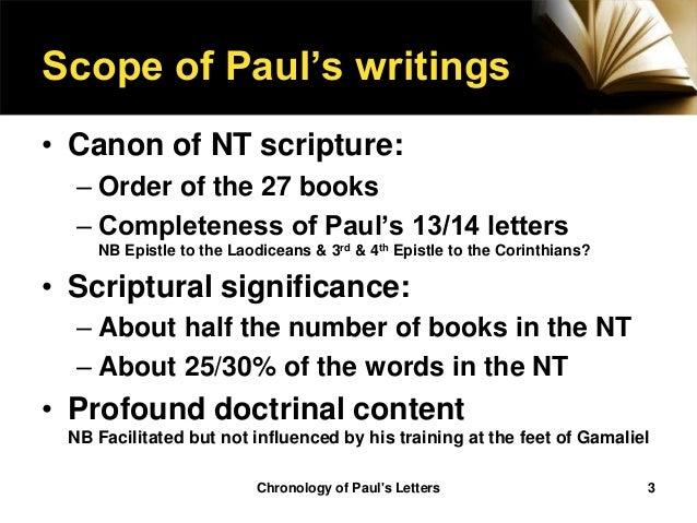 paul epistles in chronological order