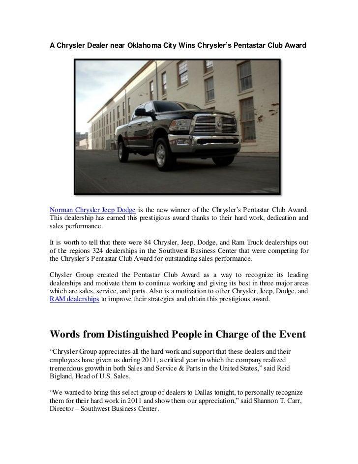 A Chrysler Dealer Near Oklahoma City Wins Chrysleru0027s Pentastar Club  AwardNorman Chrysler Jeep Dodge Is The ...