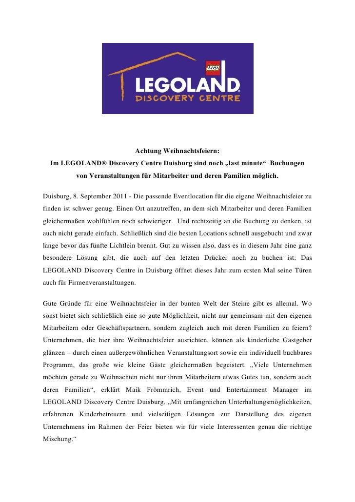 """Achtung Weihnachtsfeiern:  Im LEGOLAND® Discovery Centre Duisburg sind noch """"last minute"""" Buchungen           von Veransta..."""