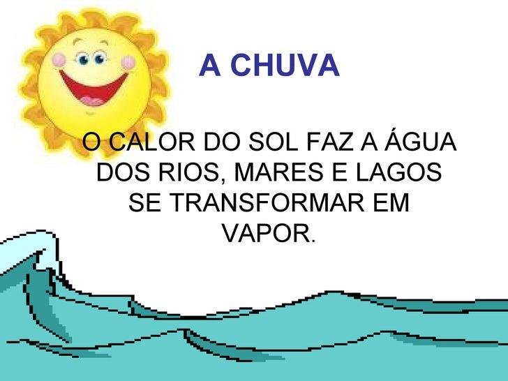A CHUVA   O CALOR DO SOL FAZ A ÁGUA DOS RIOS, MARES E LAGOS SE TRANSFORMAR EM VAPOR .