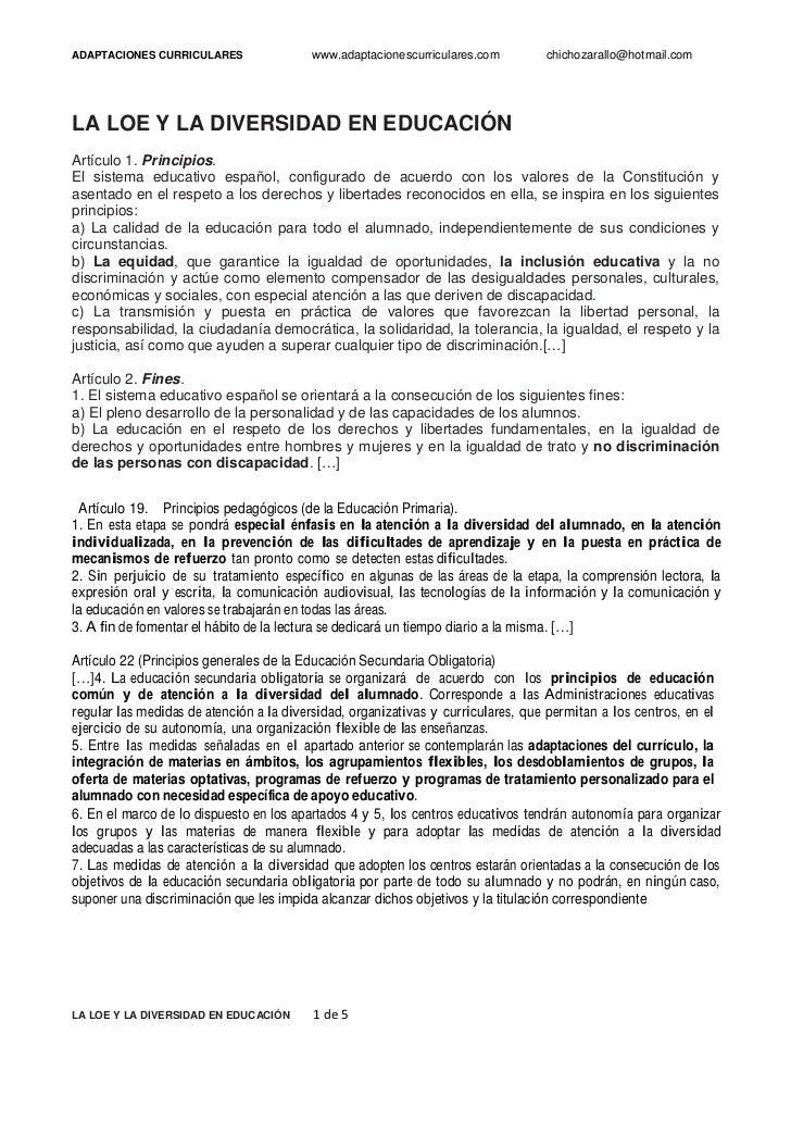 ADAPTACIONES CURRICULARES                 www.adaptacionescurriculares.com       chichozarallo@hotmail.comLA LOE Y LA DIV...