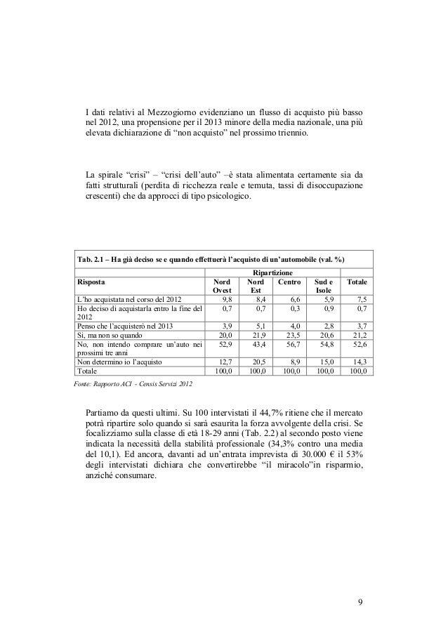 I dati relativi al Mezzogiorno evidenziano un flusso di acquisto più basso    nel 2012, una propensione per il 2013 minore...