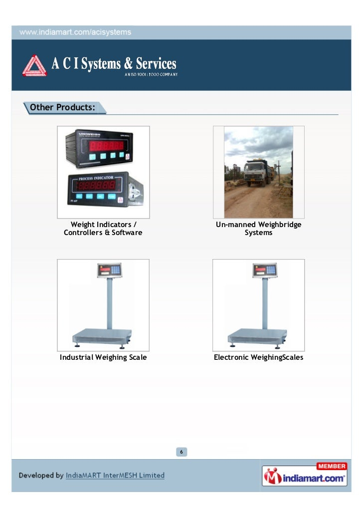 Other Products:         Weight Indicators /          Un-manned Weighbridge       Controllers & Software                Sys...