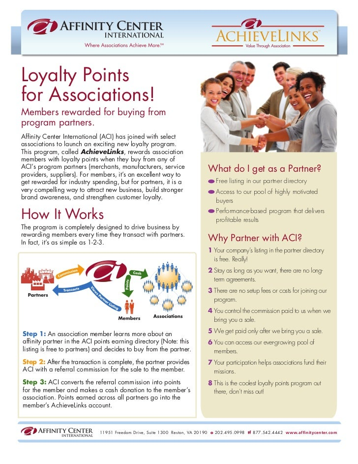 Loyalty Pointsfor Associations!Members rewarded for buying fromprogram partners.Affinity Center International (ACI) has joi...