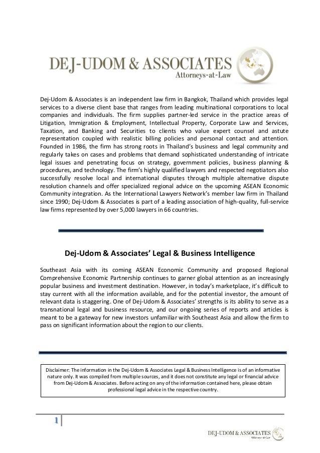 DejUdom Associates ASEAN Comprehensive Investment Agreement Over – Business Investment Agreements