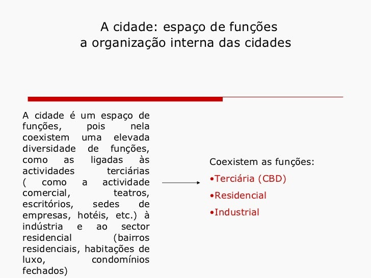 A cidade: espaço de funções             a organização interna das cidadesA cidade é um espaço defunções,      pois       n...