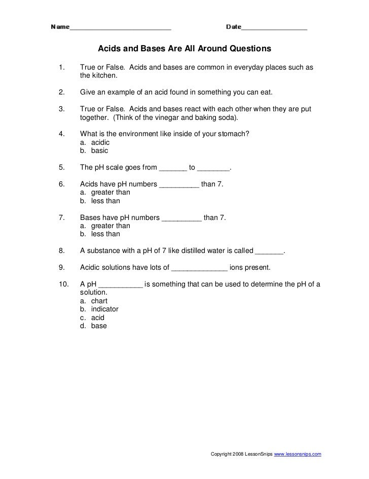 Acid base worksheet – Ph Worksheet