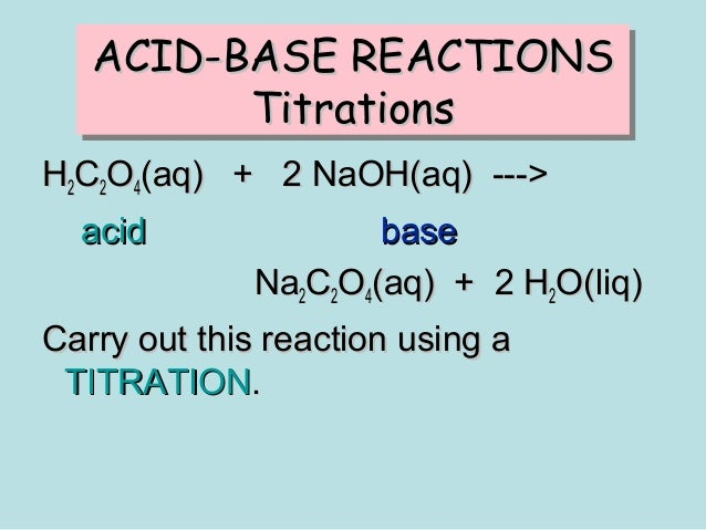 volumetric analysis to find concentration of acid We can calculate the exact concentration of unit 17 concentration of solutions and volumetric analysis p 1 calculate the volume of the original acid.