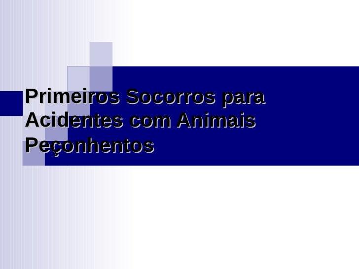 Primeiros Socorros para Acidentes com Animais Peçonhentos
