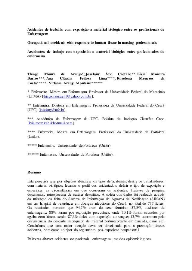 Acidentes de trabalho com exposição a material biológico entre os profissionais de  Enfermagem  Occupational accidents wit...