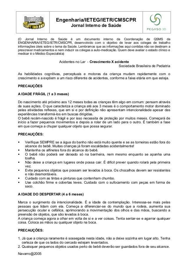 Engenharia/IETEG/IETR/CMSCPR Jornal Interno de Saúde (O Jornal Interno de Saúde é um documento interno da Coordenação de Q...