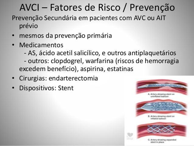 AVCI – Fatores de Risco / Prevenção Prevenção Secundária em pacientes com AVC ou AIT prévio • mesmos da prevenção primária...