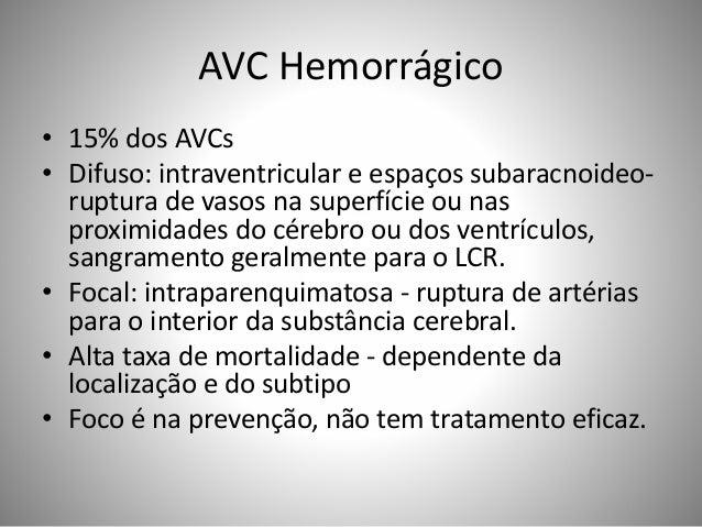 AVC Hemorrágico • 15% dos AVCs • Difuso: intraventricular e espaços subaracnoideo- ruptura de vasos na superfície ou nas p...